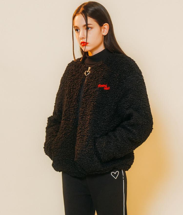 HEART CLUBBlack Fuzzy Jacket