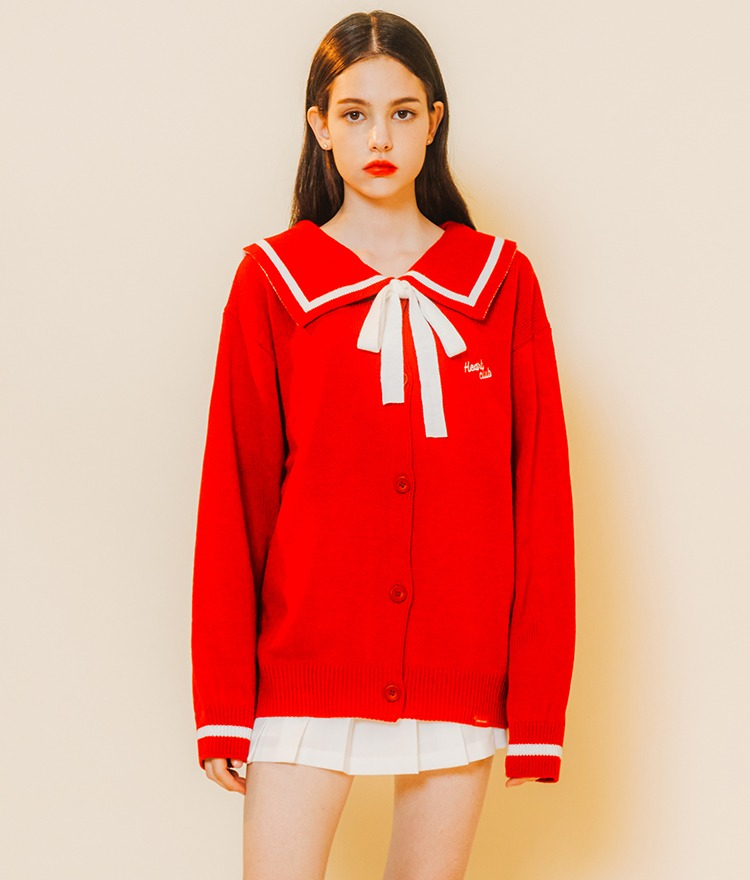 HEART CLUBSailor Collar Red Knit Cardigan