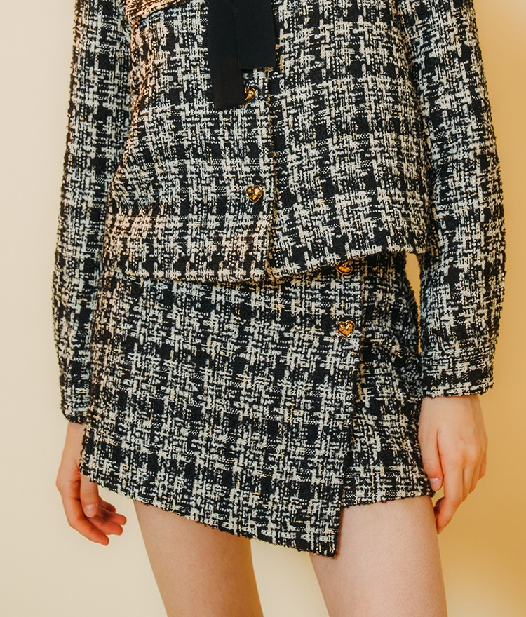HEART CLUBBlack Check Tweed Mini Skirt