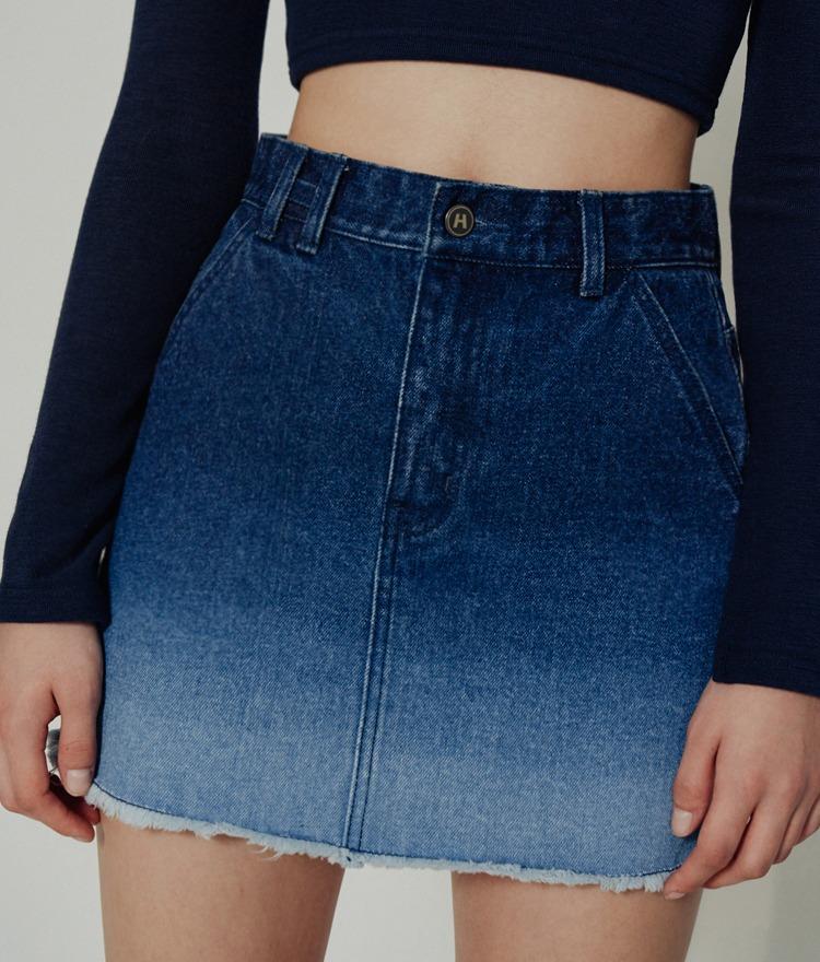 HIDEGradient Blue Denim Skirt