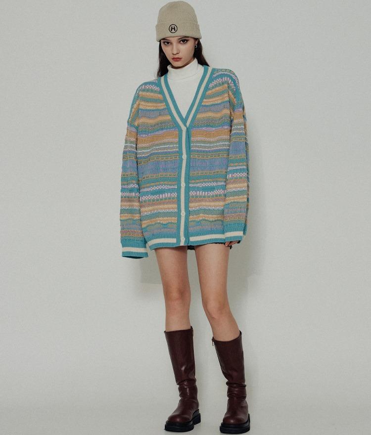 HIDEPatterned Mint Knit Cardigan
