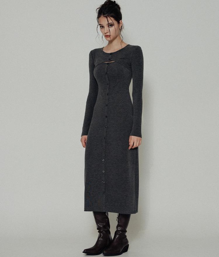 HIDEDark Gray Cutout Chest Dress