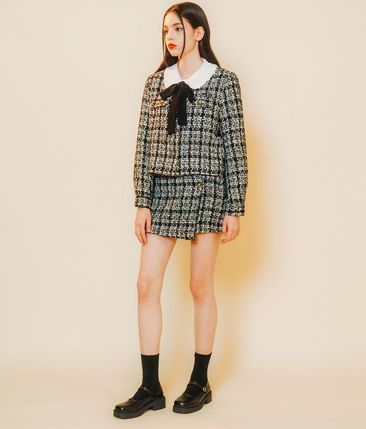 Heart Tweed Jacket (Black Check) Heart Tweed Skirt (Black Check)SET