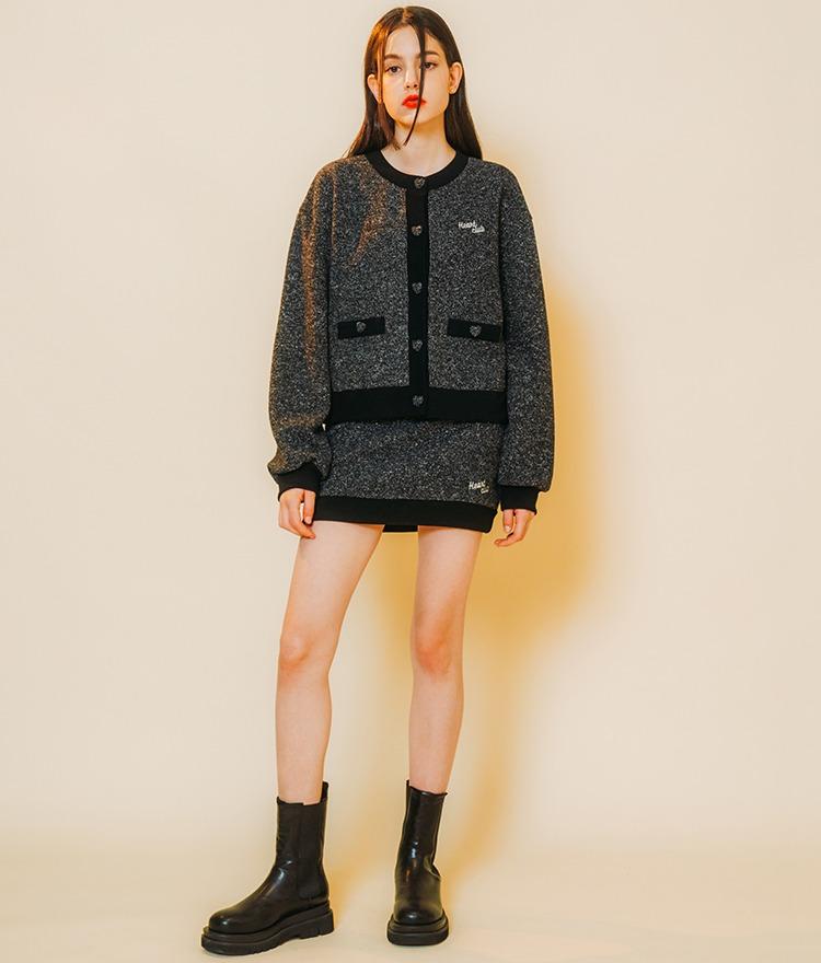Heart Tweed Coloration Cardigan (Black) Heart Tweed Coloration Skirt (Black)SET