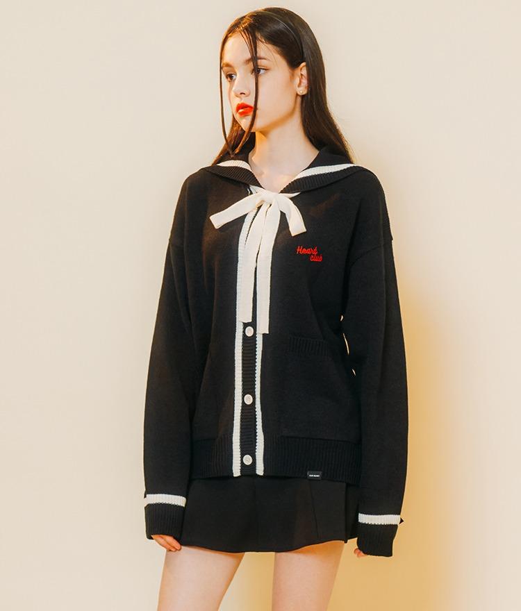 HEART CLUBContrast Ribbon Black Cardigan