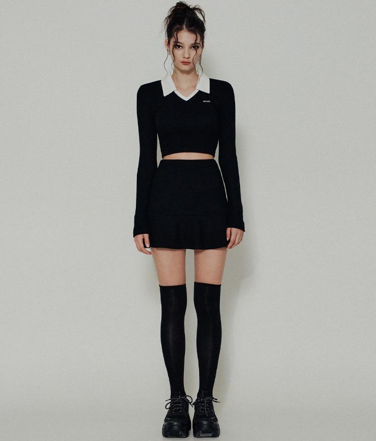 HIDE Collar Crop Top (Black) HIDE Flare Band Skirt (Black)SET