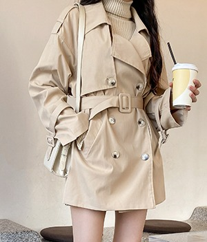 NEVERM!NDBelted Short Trench Coat