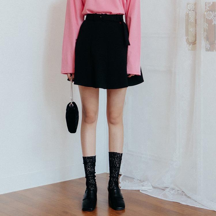 Heart Flare Belt Skirt