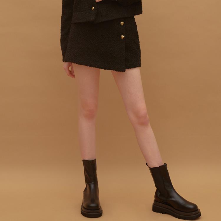 Heart Tweed Skirt (Black)