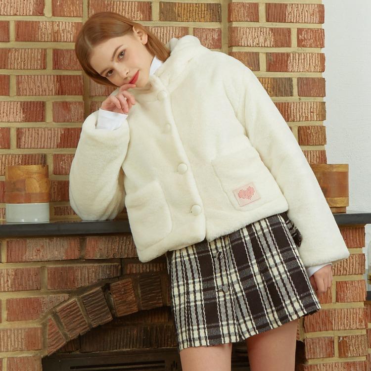 HEART CLUBWhite Faux Fur Hooded Jacket
