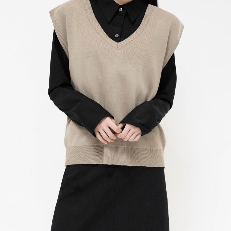NEVERM!NDBoxy V-Neck Knit Vest