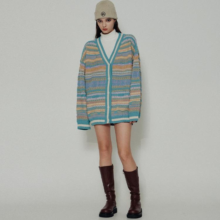 HIDE Geometric Knit Cardigan (Mint)