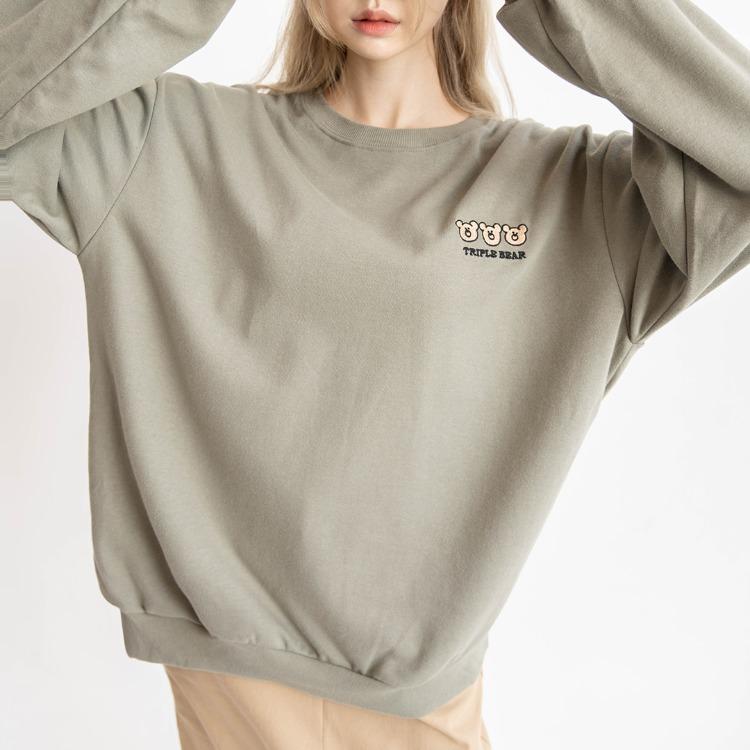 NEVERM!NDTRIPLE BEAR Embroidery Sweatshirt