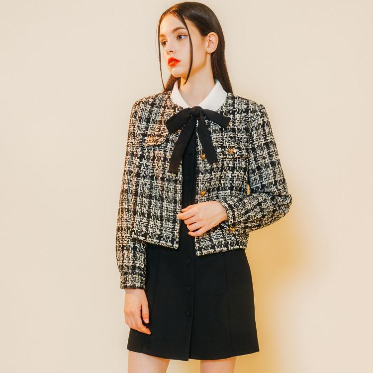 Heart Tweed Jacket (Black Check)