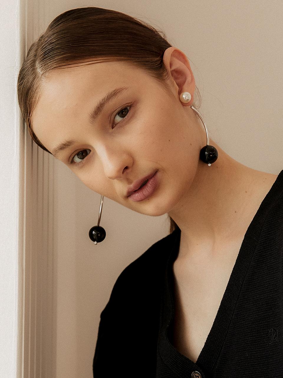 black orb earring