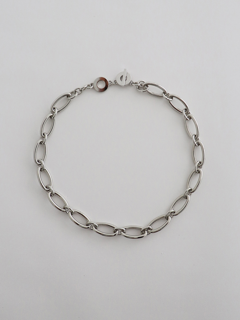 oval necklace - silver