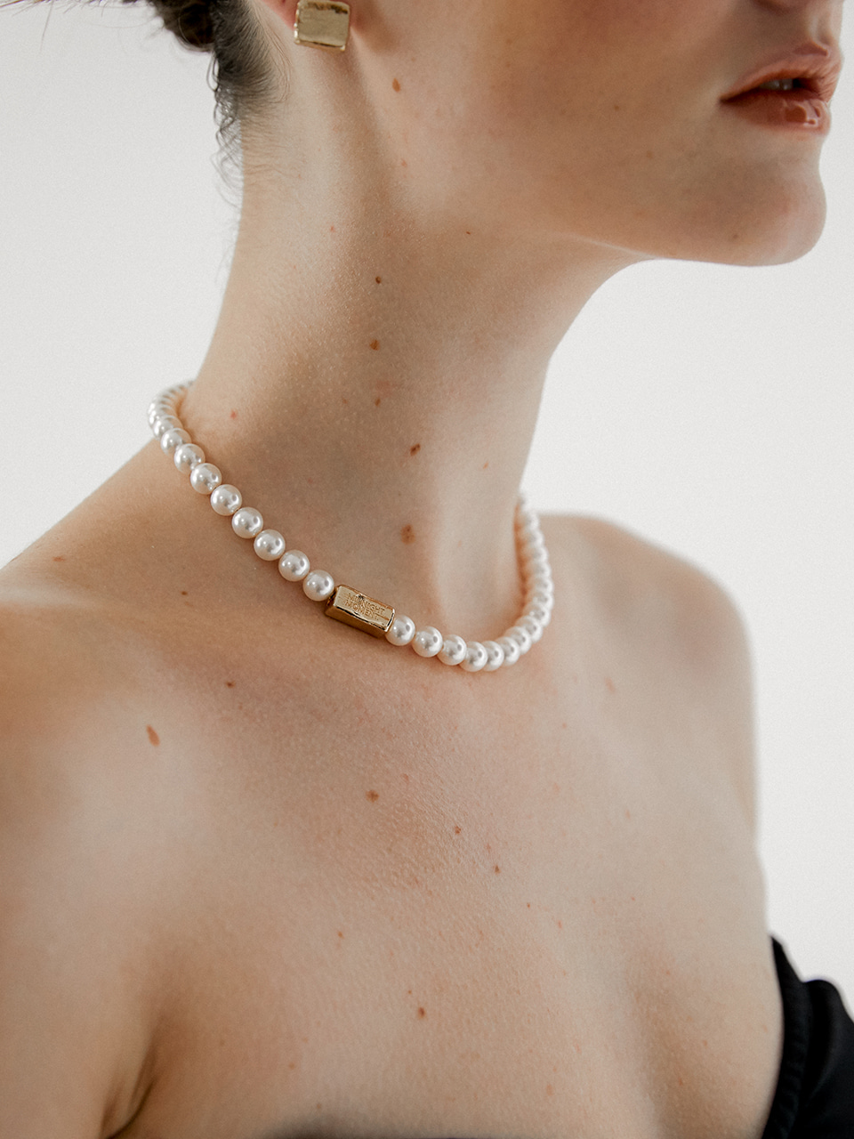 brick pearl necklace - gold