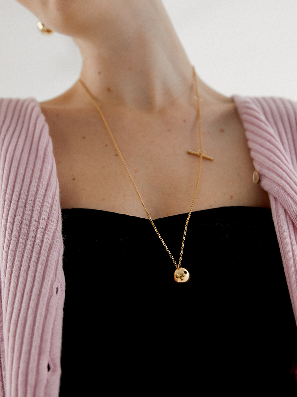 long sphere necklace - gold