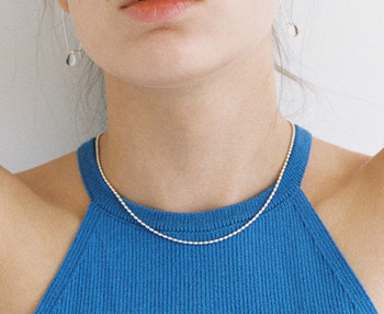 [usual ME] oval ball chain silver necklace
