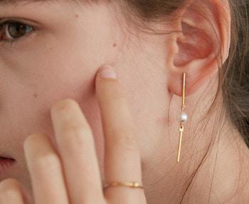 [usual ME] drop bar & pearl earrings (15%off)