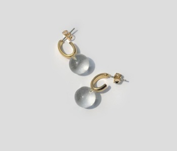 Oval and Glass Earrings (10% off)