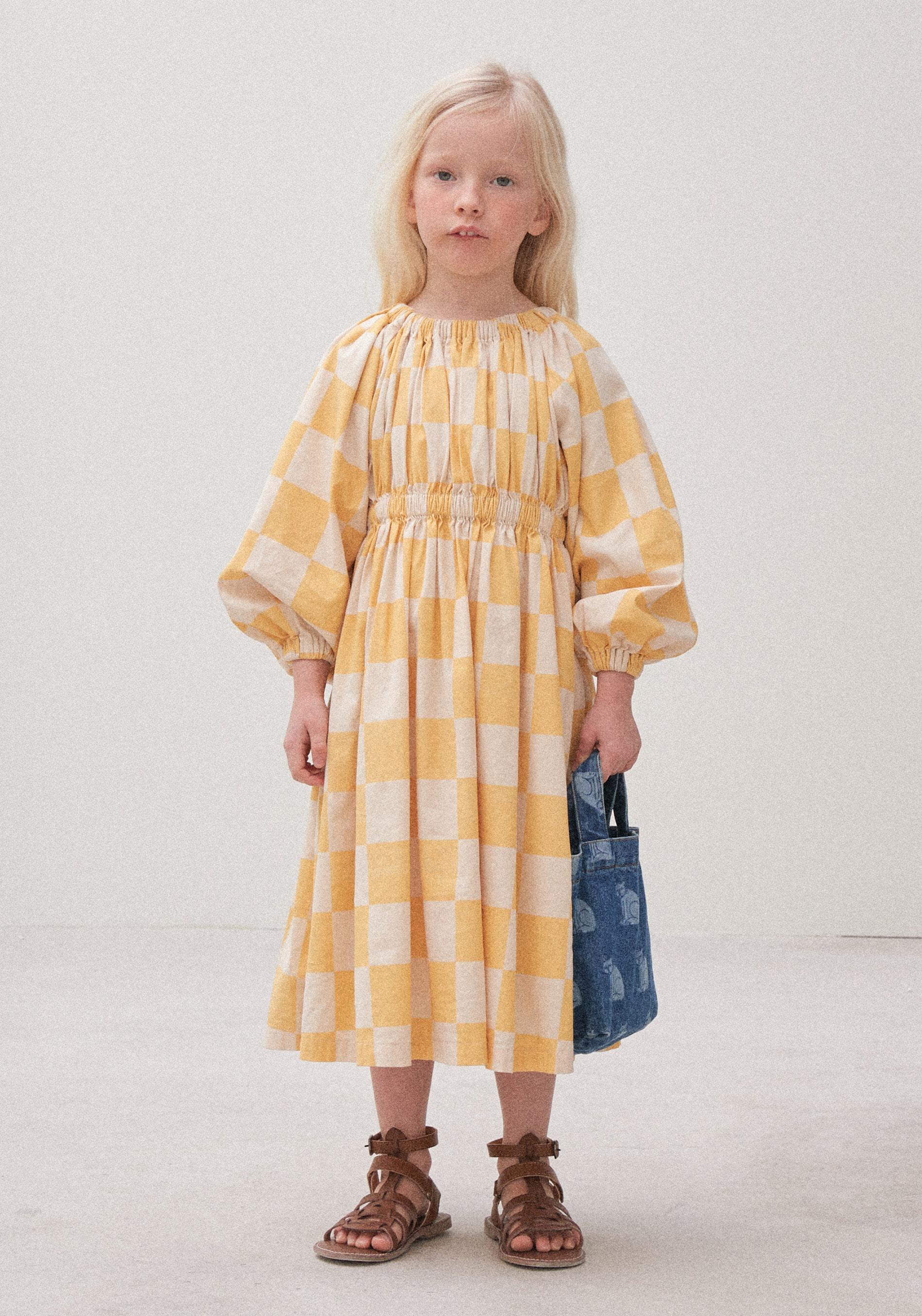 옐로우 체크 드레스