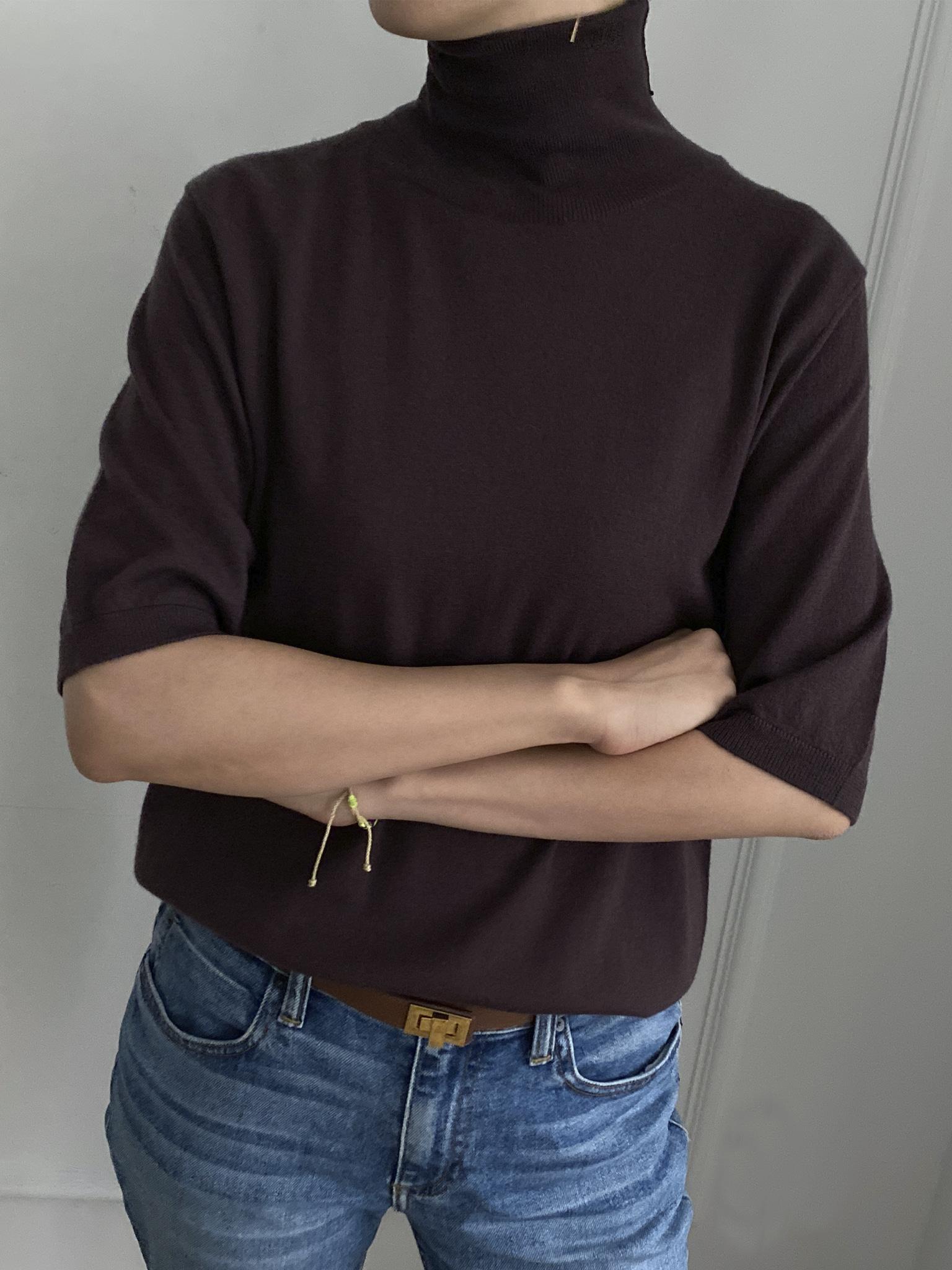 Loropiana Cashmere 100% Short Sleeve Turtle-neck Knit