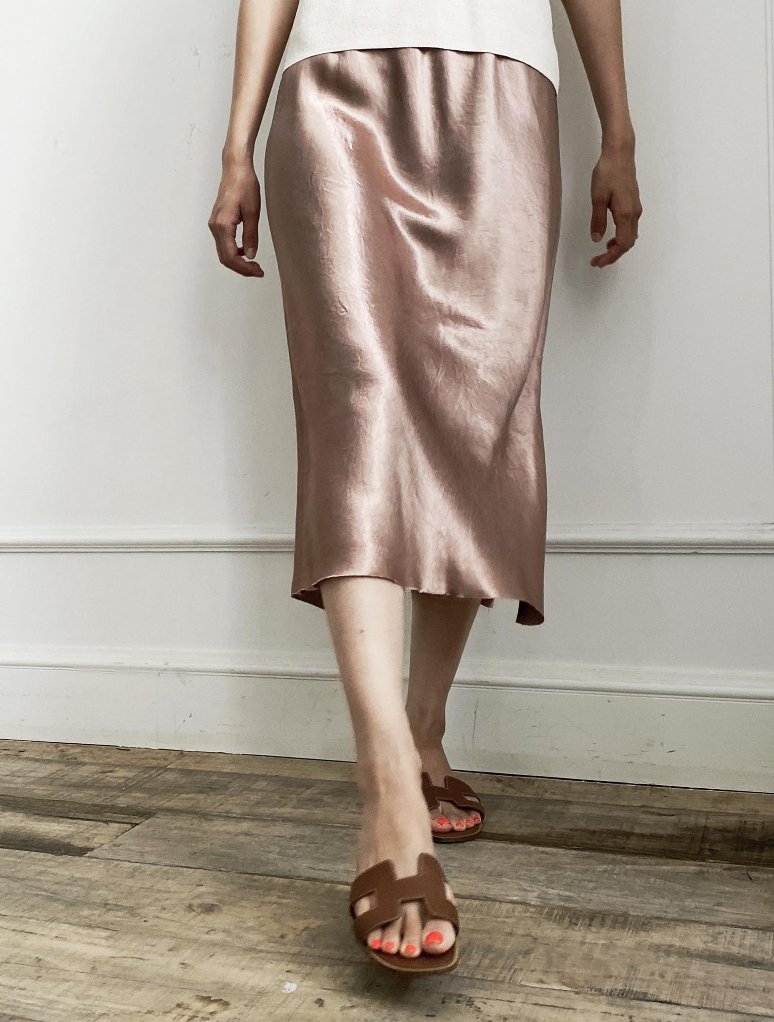 [with 리얼미] Fluid Skirt #Pink