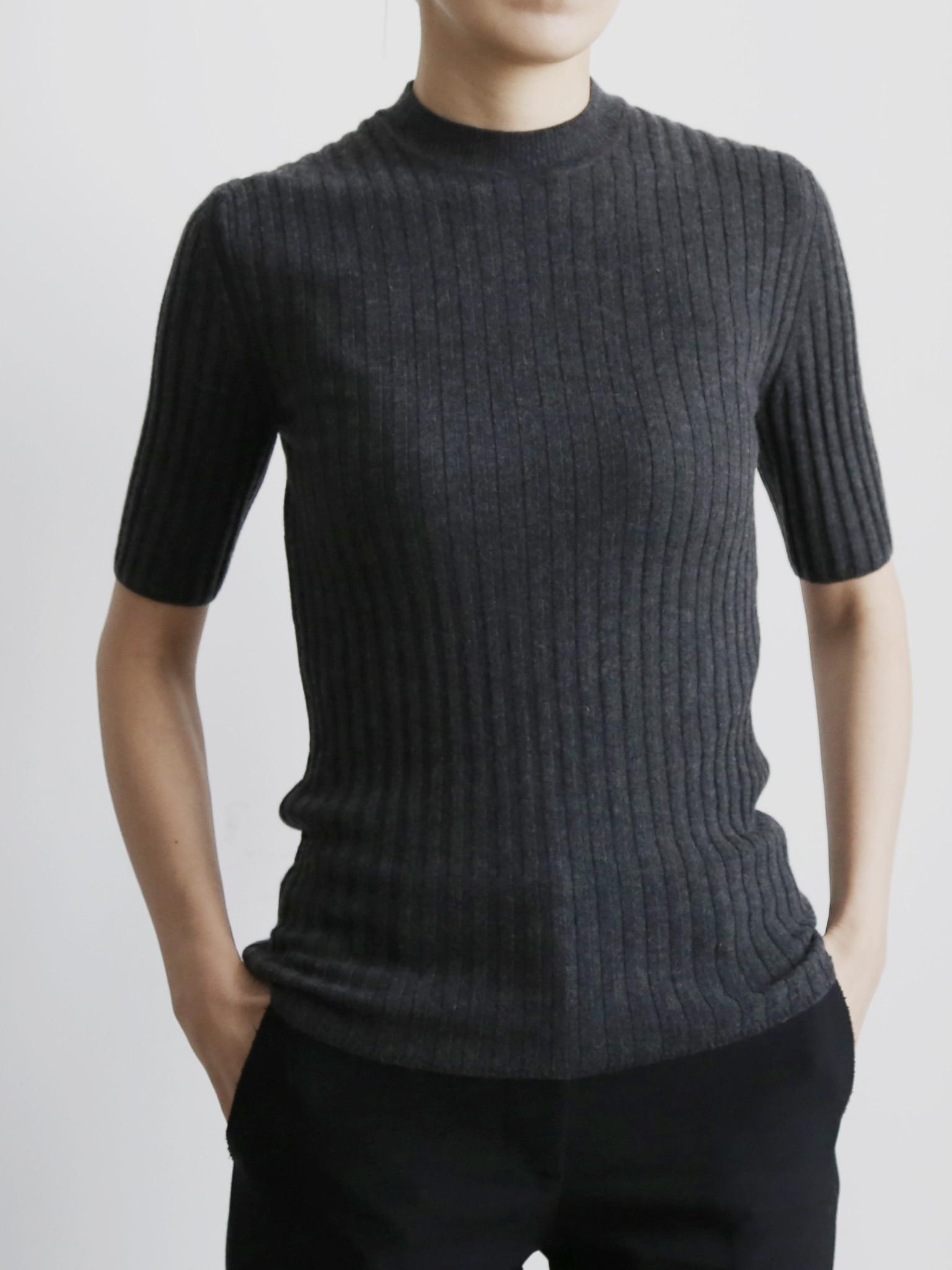 ROYAL Collection. Loro Piana Cashmere 100%Short sleeve Rib Pullover