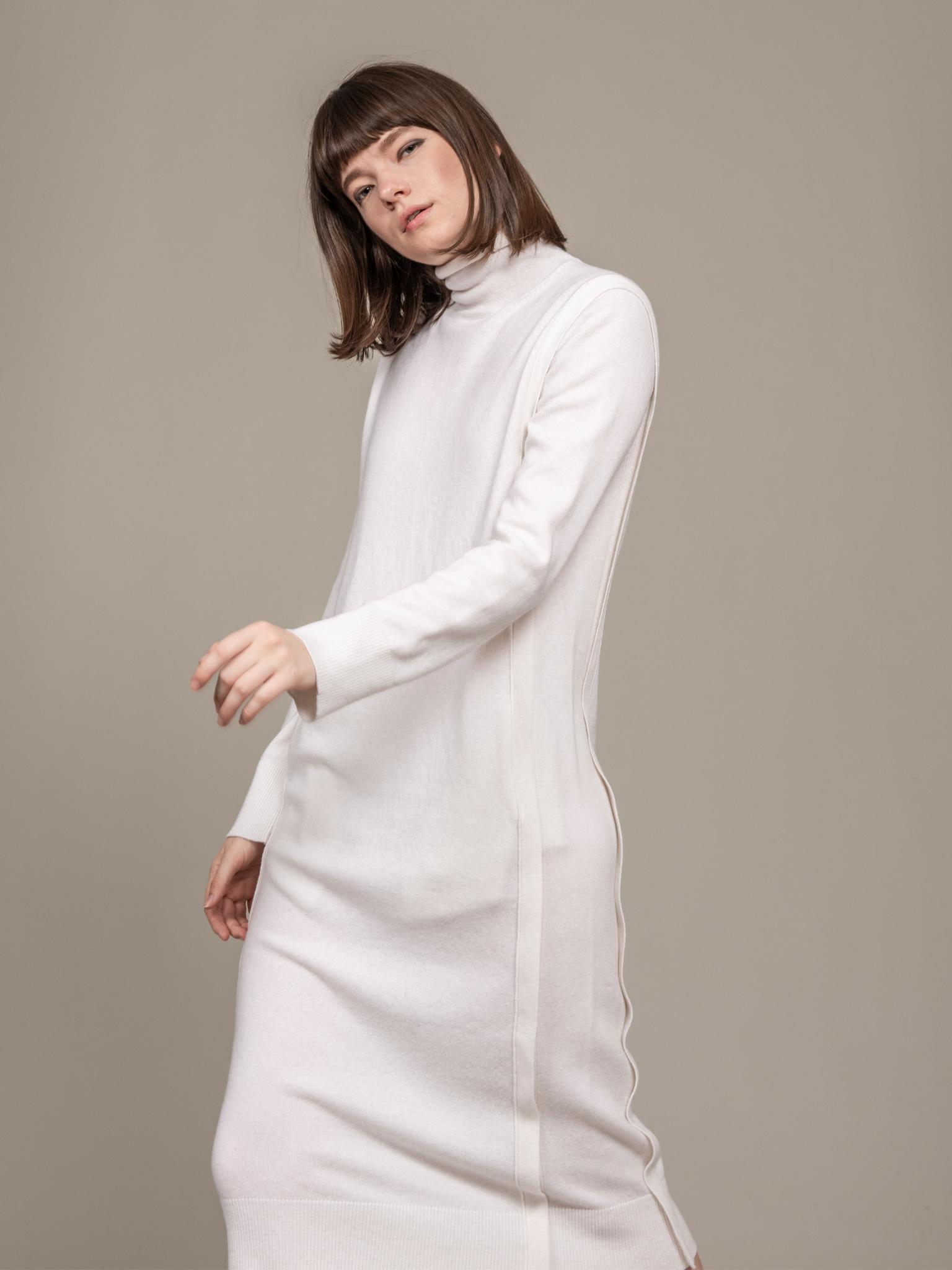 Cashmere 100% Turtle Neck Knit Dress