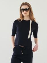 String Detail Short Sleeve Knit Top