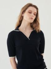Open Collar Knit Top