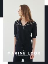 세일러 칼라의 화려한 귀한, Marin Knit Top