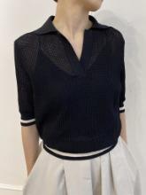 Open Collar Mesh Knit Top