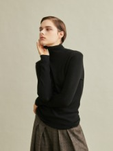 Silk Cashmere Turtleneck Knit Top