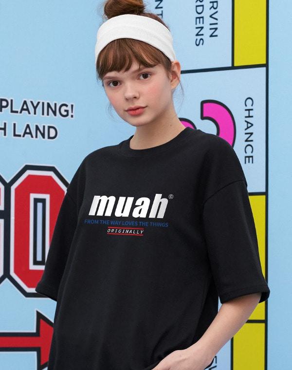 하프 로워 프린팅 티셔츠