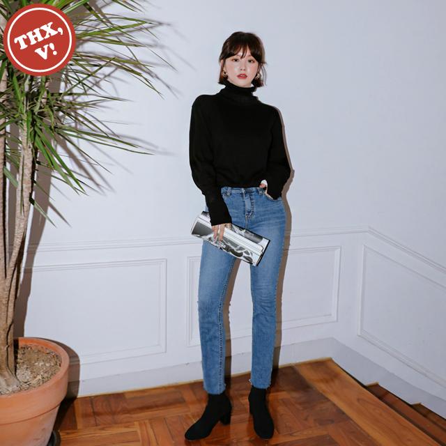 [THX,V] NO.701 中腰水洗无锁边牛仔紧身裤