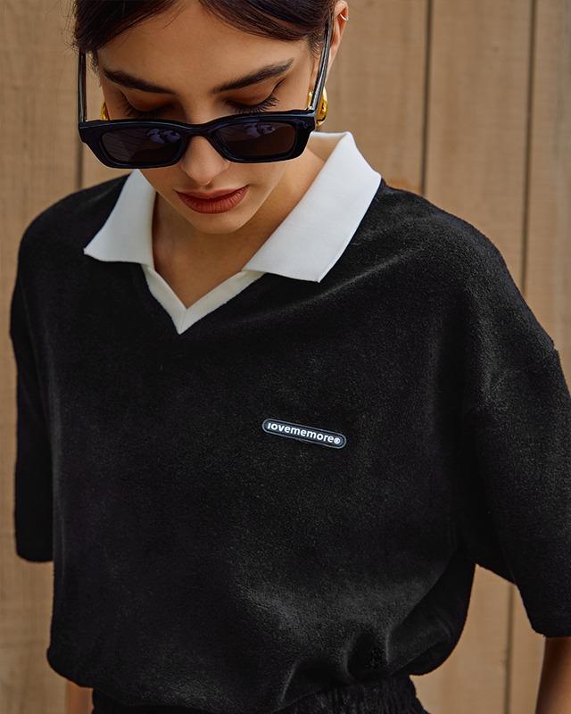 [ラブミーモア]ワッペンロゴ 襟付きテリー半袖Tシャツ