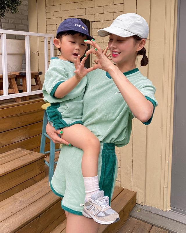 [ラブミーモア]ワッペンロゴ テリートレーニングウェアセット (幼児用)