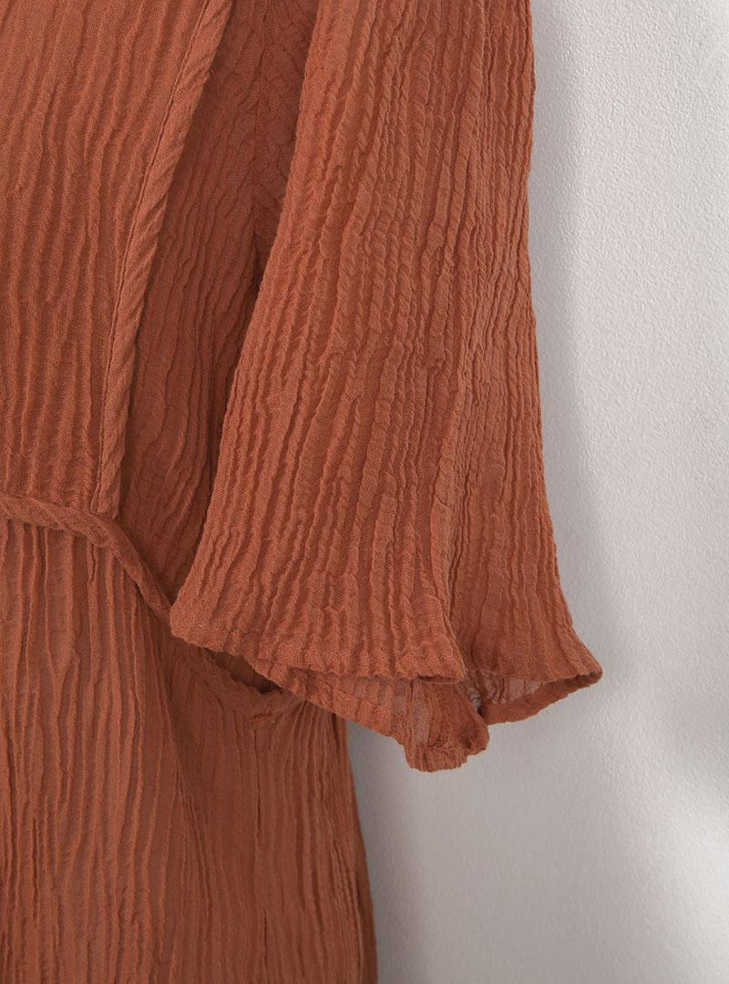 Asymmetrical Hem Crinkled Dress