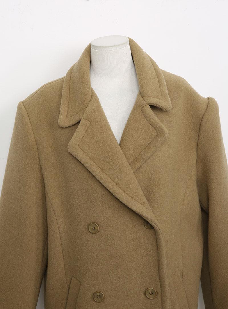 Long Notch Lapel Double-Breasted Coat