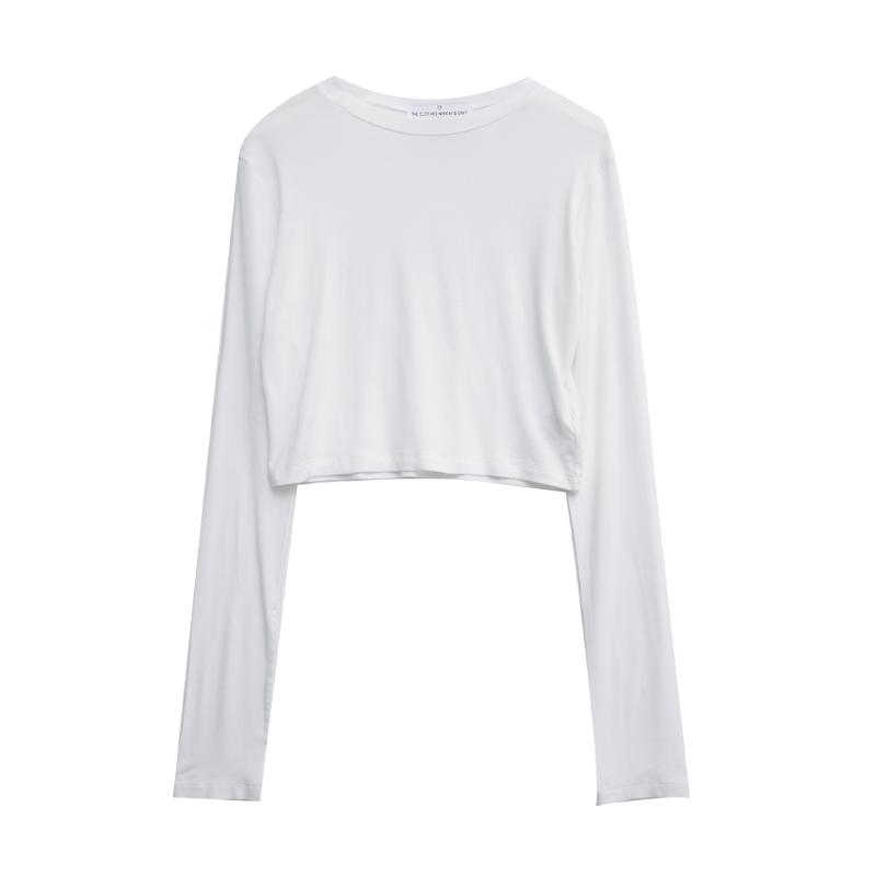 Basic Round Neck Cropped T-Shirt