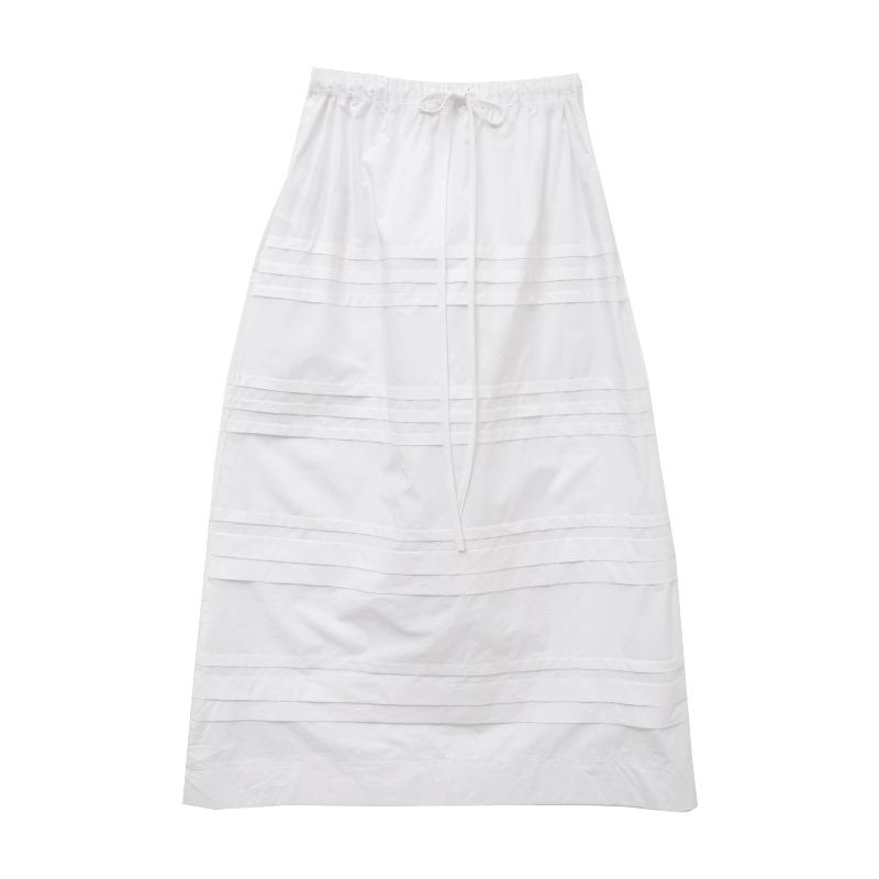 Drawstring Waist Pintuck Accent Long Skirt