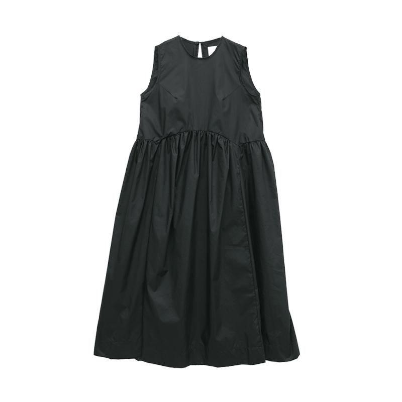 可愛少女抓皺裙襬無袖洋裝