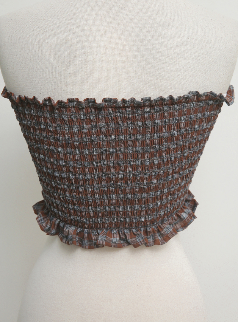 Cropped Shirred Tube Top