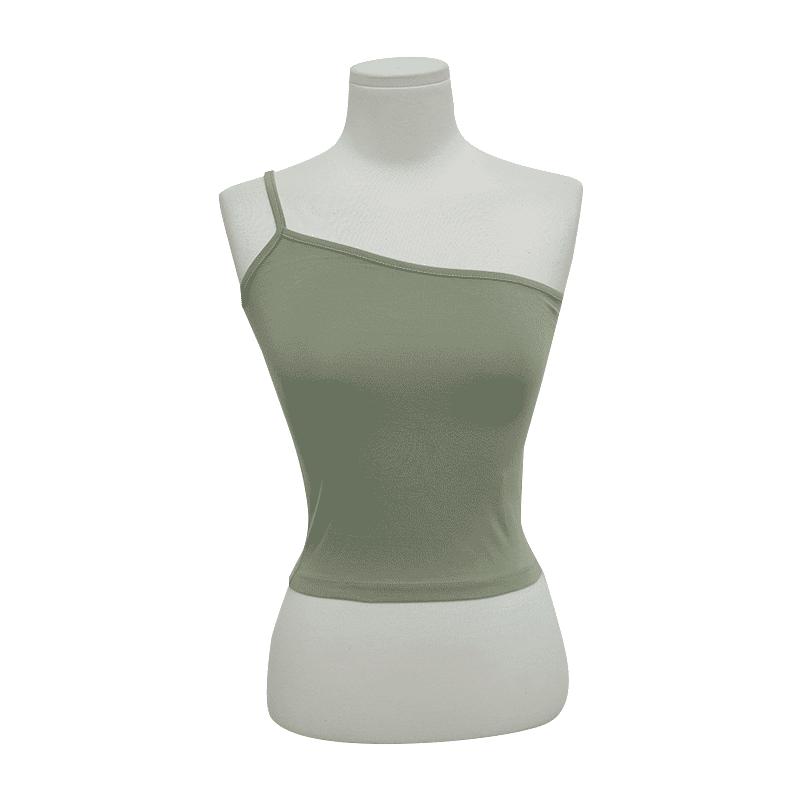 單肩帶造型純色修身背心