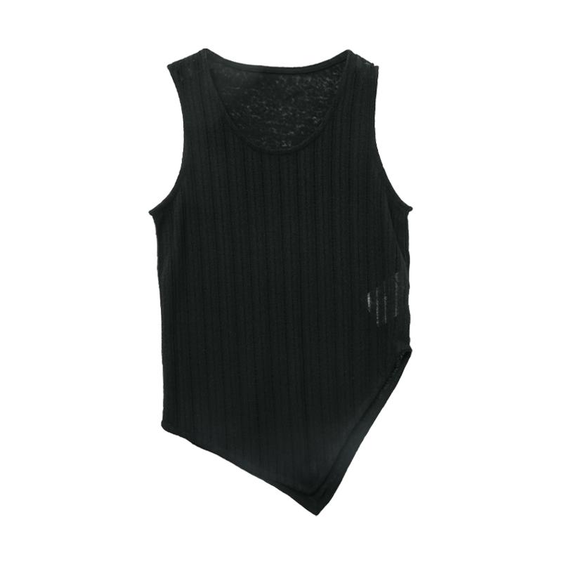 不規則襬透膚無袖上衣