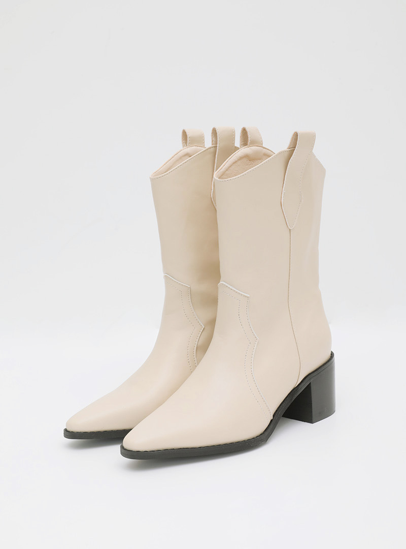 Pointed Toe Mid-Calf Cowboy Boots