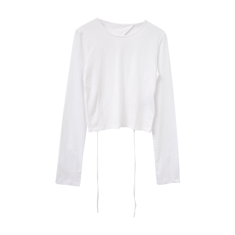 Self-Tie Open Back Cropped T-Shirt