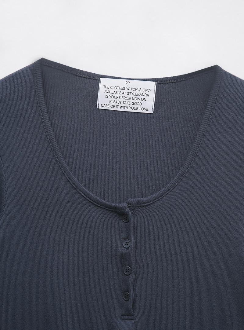 Scoop Neck Henley T-Shirt